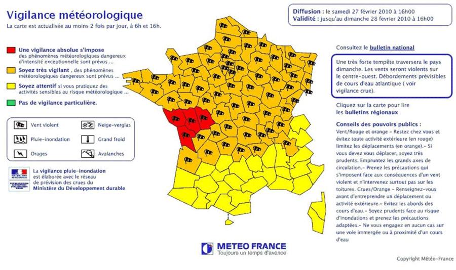 carte de vigilance Dossier thématique : La vigilance et l'alerte météo, comment ça