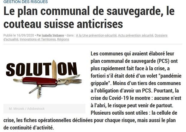 Le plan communal de sauvegarde, le couteau suisse anticrises