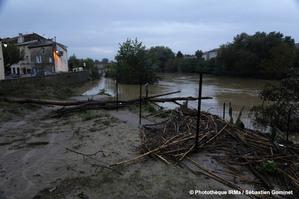 crue de l'Aude à Coursan (Aude) le 15 octobre 2018