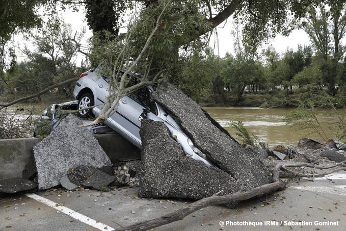 Inondations à Trèbes le 15 octobre 2018 suite au débordement du Canal du Midi